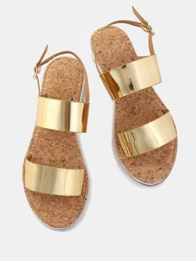 Double Strap Metallic Sandals GOLD