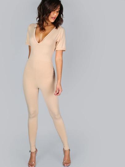 Skinny V-Neck Jumpsuit NUDE