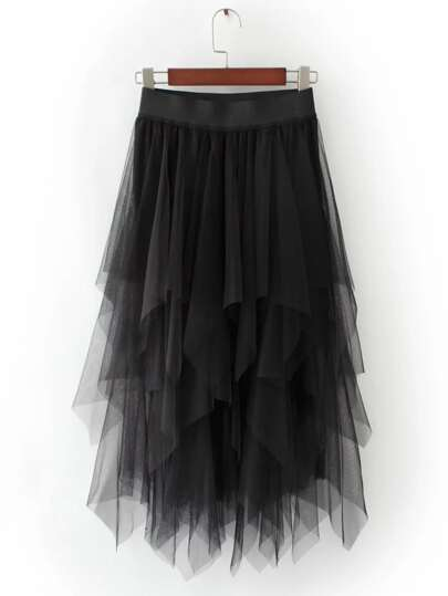Black Asymmetric Tiered Mesh Skirt