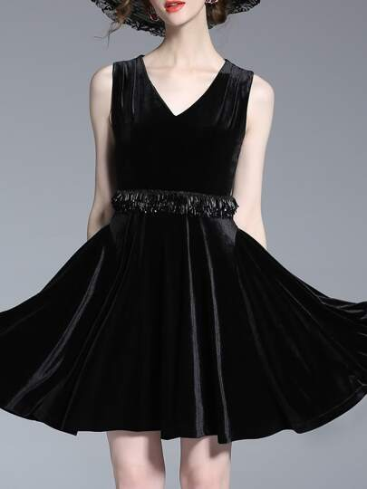 Black V Neck Velvet Fringe Dress