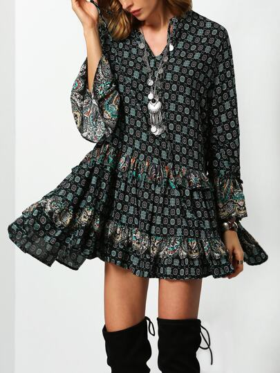 Dark Green Tribal Print Ruffle Dress