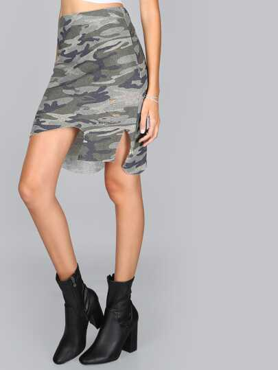 Distressed Terry Cloth Camo Skirt CAMOUFLAGE