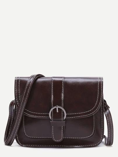 Dark Brown Buckle Detail PU Shoulder Bag