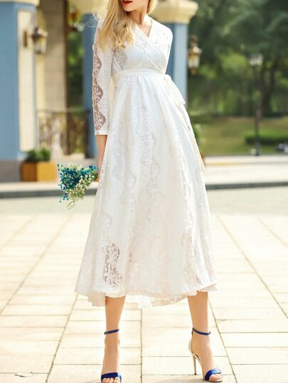 White V Neck Tie-Waist Lace Long Dress
