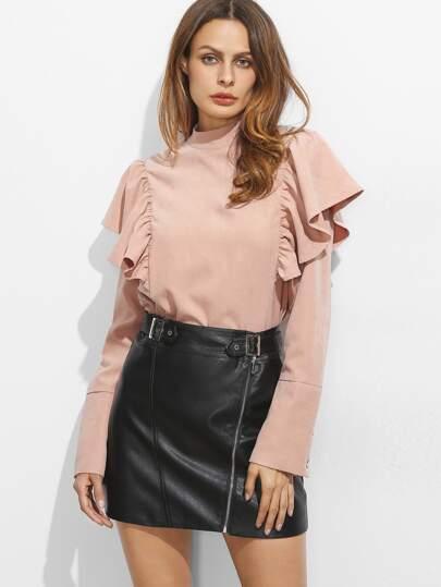 Rüschen Bluse Vesspotten Hals Knopf Manschette-rosa