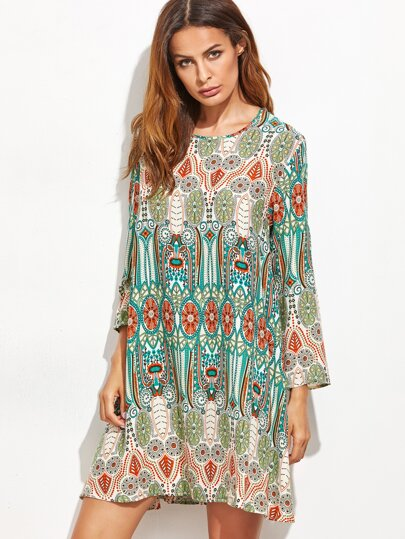 Green Tribal Print Long Sleeve Shift Dress