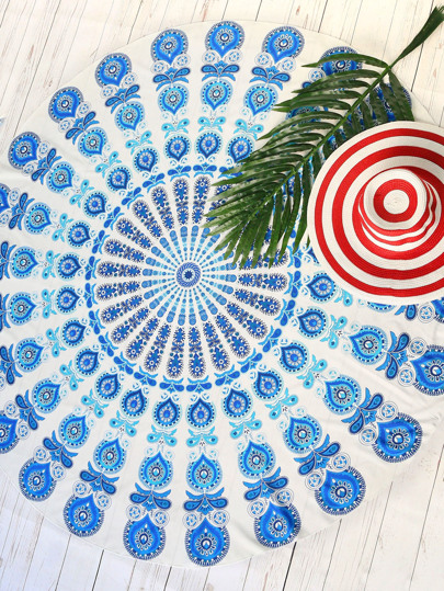 Blue Tribal Print Vintage Round Beach Blanket