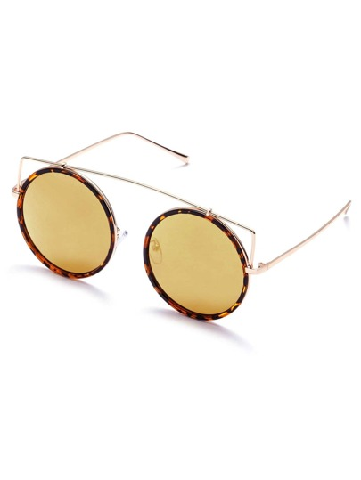 Brown Frame Gold Lens Round Design Sunglasses