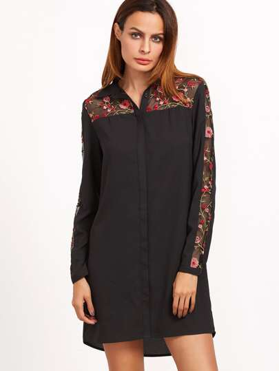 Black Embroidered Mesh Yoke And Sleeve Shirt Dress