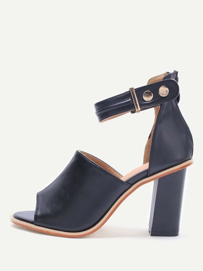 Black Peep Toe Ankle Strap PU Chunky High Heels
