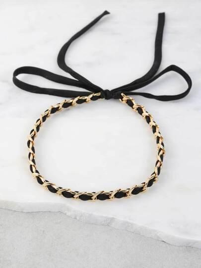 Ribbon Chain Choker Necklace BLACK