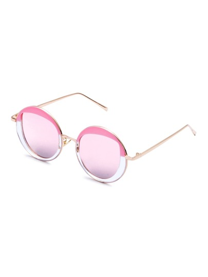 Pink And Gold Frame Round Design Sunglasses
