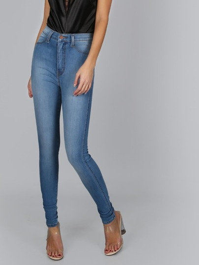 High Waist Medium Wash Jeans MEDIUM STONE