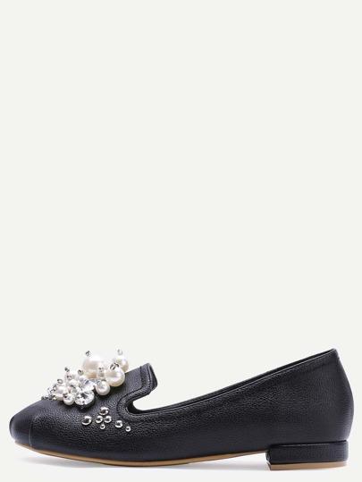 Schwarze Perle verschönerte PU-Flats