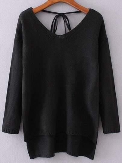 Black V Neck Tie Back High Low Sweater