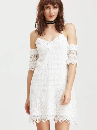 White Cold Shoulder Embroidered Lace Dress