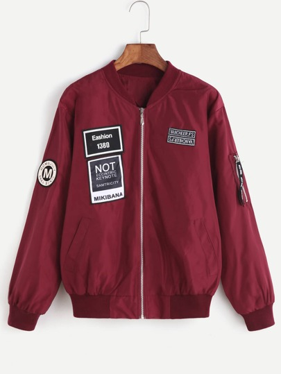 Burgundy Ribbed Trim Patches Bomber Jacket