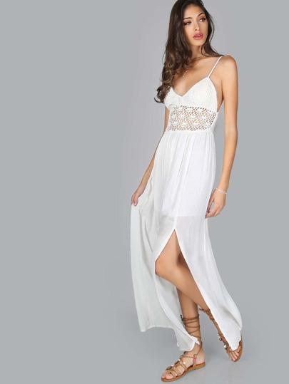 Crochet Slit Maxi Dress WHITE