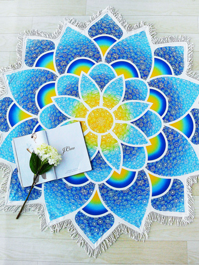 Lotus Mandala Fringe Trim Beach Blanket
