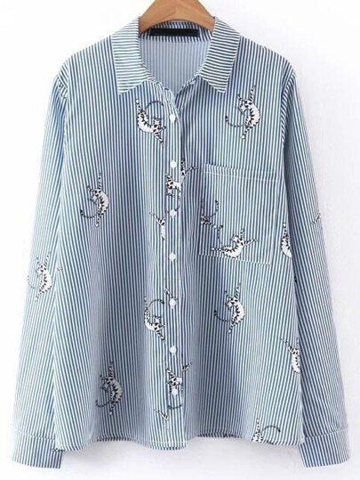 Blue Striped Print Front Pocket Blouse