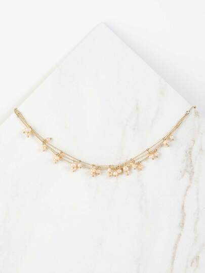 Layered Faux Pearl Necklace GOLD