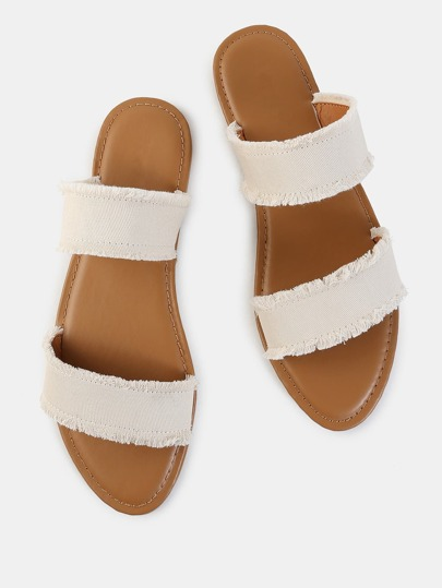 Slip On Frayed Canvas Sandals BEIGE