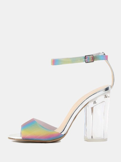 Holographic Peep Toe Perspex Heels SILVER