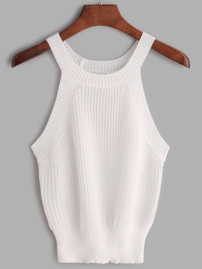 Ribbed Trim Knit Halter Neck Top