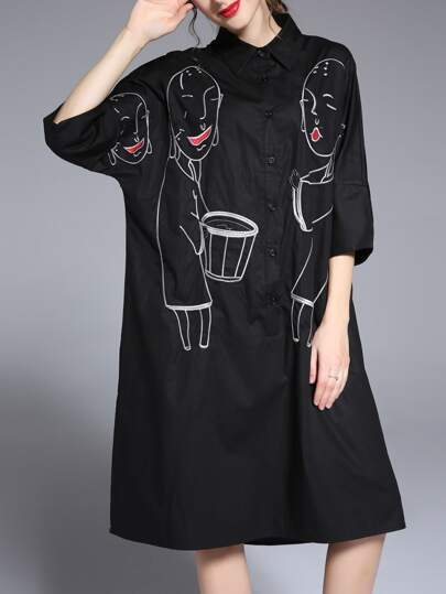 Black Lapel Character Embroidered Shirt Dress