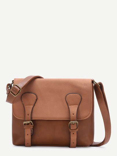 Brown Double Buckle PU Shoulder Bag