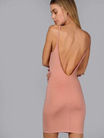 Basic Low Back Bodycon Dress MAUVE