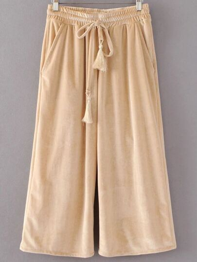 Light Khaki Drawstring Waist Velvet Wide Leg Pants