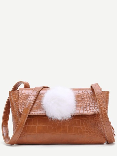 Brown Crocodile Embossed PU Shoulder Bag With Pom Pom