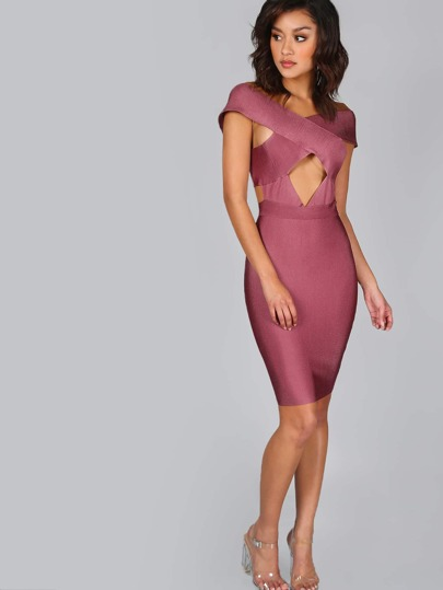 Cut Out Bandage Dress MAUVE