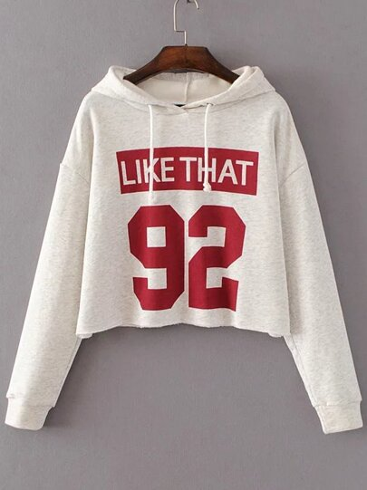Beige Letter Print Hooded Crop Sweatshirt