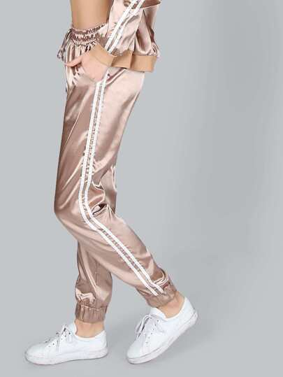 Satin Stripe Joggers MOCHA GOLD