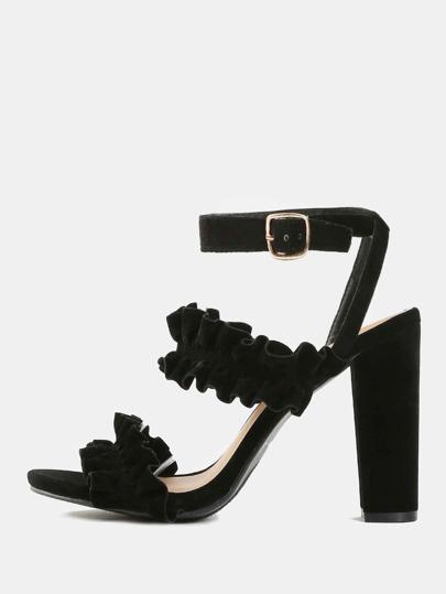 Ruffle Open Toe Chunky Heels BLACK