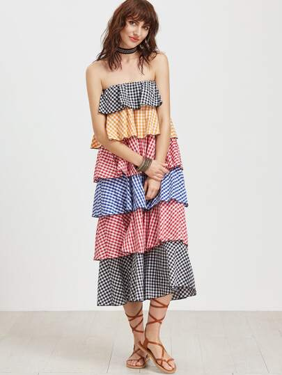 Multicolor Checkered Layered Tiered Bandeau Dress