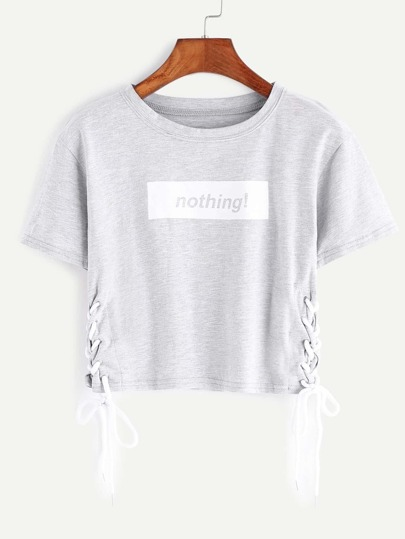 Heather Grey Letter Print Lace Up Side Crop T-shirt