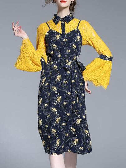 Yellow Lace Spaghetti Strap Print Two-pieces Dress