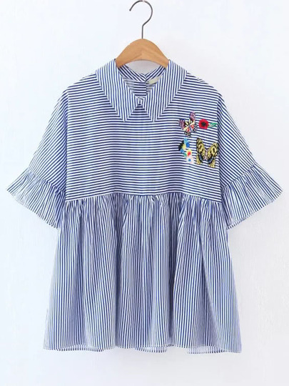 Embroidered Contrast Striped Ruffle Blouse