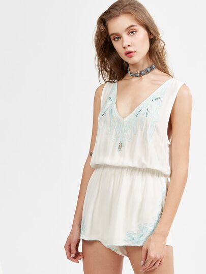 White V Neck Embroidered Tassel Tie Backless Romper
