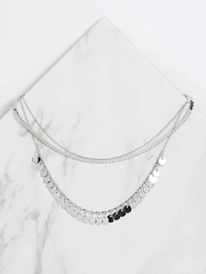 Metallic Charm Necklace SILVER