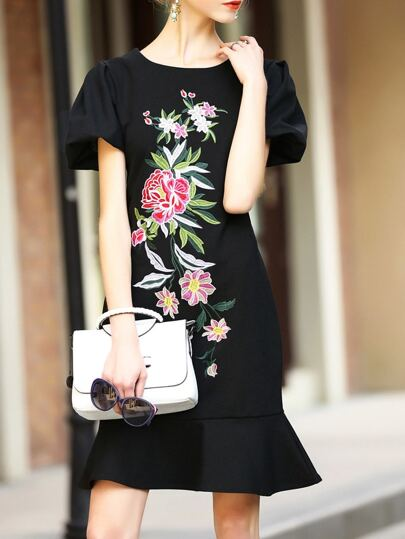Black Flowers Embroidered Frill Dress