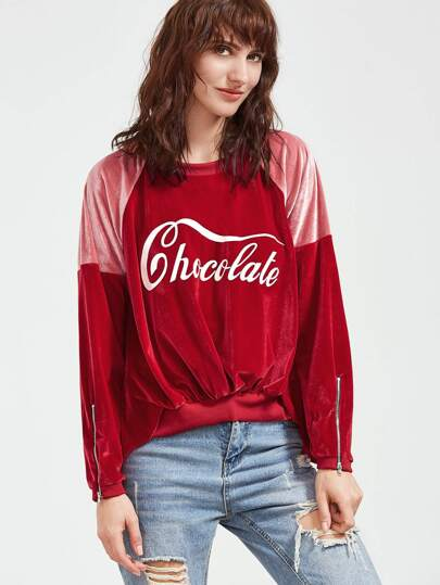 Color Block Letter Print Zip Detail High Low Velvet Sweatshirt