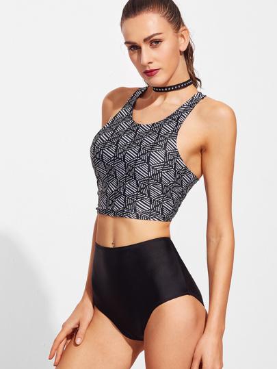 Schwarzer gedruckter Rennläufer-Rückseiten-hoher Taillen-Bikini-Satz