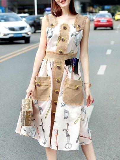 Pink Strap Print Pockets Combo Dress