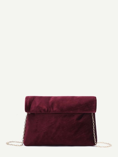 Burgundy Foldover Velvet Clutch Bag With Chain