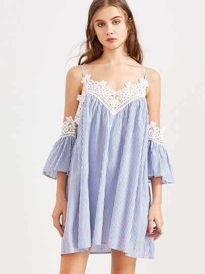 Cold Shoulder Pinstripe Lace Trim Dress