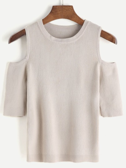 Apricot Open Shoulder Knit Crop T-shirt